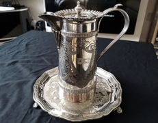 Silver plated coffee pot  engraved with the flag of the White Star Line shipping company. Also included is the silver plated footed tray.