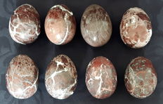 Rhyolite and Leopard Jasper egg tumbles - 6.5 to 7.4cm - 2030gm
