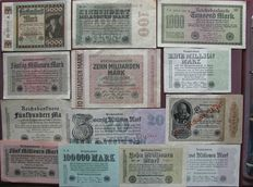 Lot with 61 original bank notes and coupons from the interwar years between World War I and II, extreme million and billion values, a variety of old German Reich bank notes.