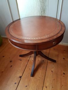 English walnut side table with leather top