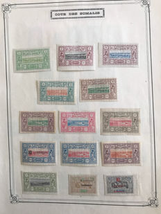 French colony, Côte des Somalis, 1884-1937, extensive collection with airmail and postage on album sheets