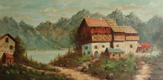 Unknown artist (20th century) -Mountain landscape with chalets and lake