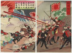 Large, original diptych woodcut from an artist from the Meji era – Japan – around 1895