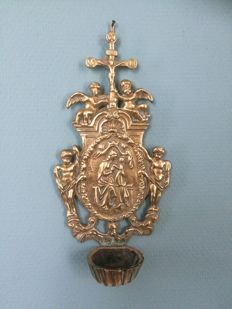 beautiful brass baroque holy water font - France circa 1880