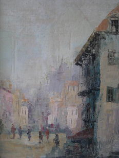 Unknown-(20th century) Paris cityscape with numerous persons