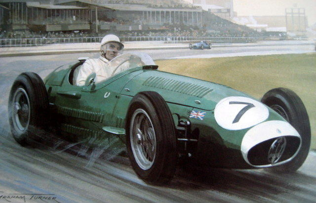 "Art lithograph - ""1954 Aintree 200"" - Winner Stirling Moss on Maserati 250F #7: Artist Graham Turner"