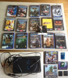 Playstation 2 incl 18 games , 4x memory cards and cables. (no controller)