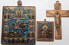 "Russian Orthodox travel icon- "" Saint Dimitri""  - ""Saint Nicholas the Wonderworker""  ~ 20 th century and the Crucifixion"