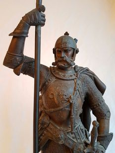 Large zamak/spelter sculpture of a 16th-century French knight - ca. 1880-90