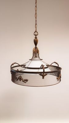 Empire style hanging lamp with angels and buck heads