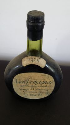 Old bottle of Armagnac Veuve Goudoulin - Vintage 1929