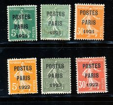 France 1921/1922 pre-cancelled (preos) Yvert # 26 + 28/29 +30/32