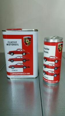 Porsche 1 litre oil can and 250 ml Energy Drink can