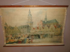 "Very old Belgian school poster / school map of ""A marché a Veurne. The market of Veurne"""