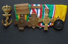 Very special NL medal bar-war commemorative cross with 4 buckles- Order and Peace with buckle 1946 — New Guinea cross- Loyal service Navy.
