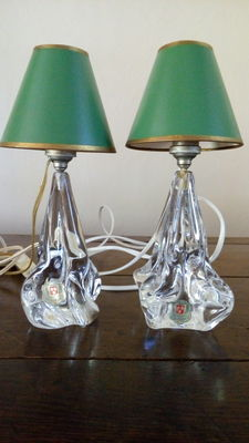 Cristal Ile de France - Light fixture - Two lamp legs in crystal glass with lampshade