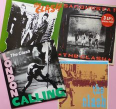 "Set of 3 albums by The Clash + 10"" (total 7 lp's); The Clash, London Calling (2), Sandinista! (3), Black Market Clash (10"") VG+/VG+"