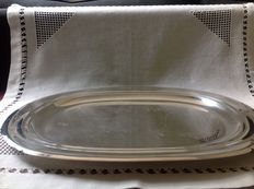 Large silver plated tray with beautiful profile edge