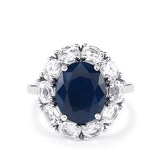 Madagascan Blue Sapphire Coctail Ring with Brazilian white Topaz surround NO RESERVE