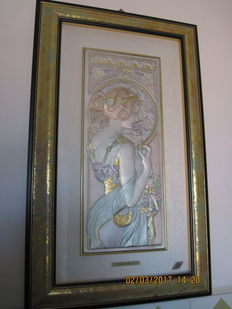 Silver embossed women, Art Nouveau.