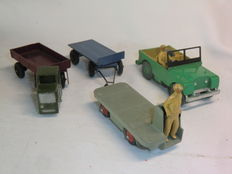 Dinky Toys - Scale 1/38-1/48 - Land Rover No.27d, Mechanical Horse & Open Wagon No.33w, B.E.V. Electric Truck No.14a and Trailer 25g