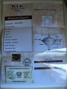 Natural diamond, 0.49 ct, DIE certificate - NO RESERVE PRICE