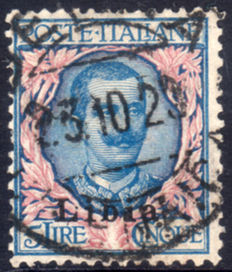 Former Italian colonies, Libya, 1912 – 5 Lire – Floral – Overprint – 1st type – Cancelled.