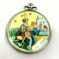 "Clock; Doxa Silver Pocket Watch with ""sex in the train"" scene on dial - 1930s"