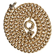 Yellow gold curb link necklace with white gold ends – 14 kt – 46.5 cm