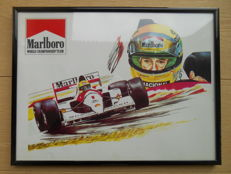 Marlboro advertising poster in frame from 1990 with Ayrton Senna
