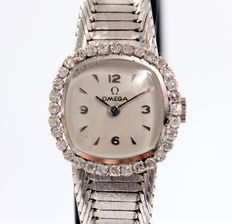 White gold 18 kt Omega dress watch with brilliant cut diamonds of 0.75 ct – Women's watch – 1970s