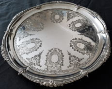 Silver plated footed tray engraved with the flag of the White Star Line shipping company.