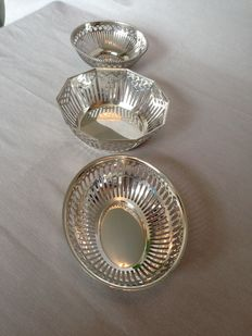3 silver plated bonbon dishes.