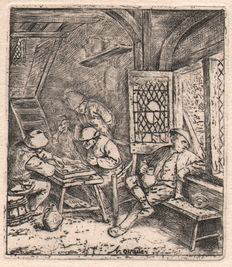 Adriaen van Ostade ( 1650 - 1726) - The Backgammon Players - Ho 39 IV - 1668