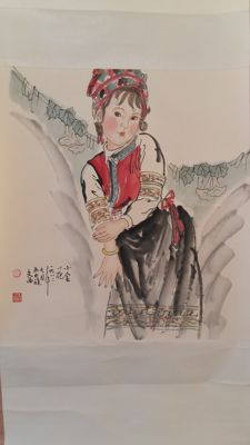 A scroll painting, reproduction of Liu Wenxi's work - China - late 20th century