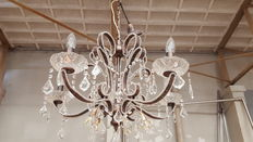 Chic chandelier with glass tips - leather look-