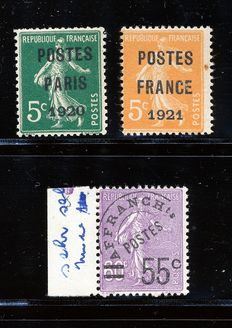 France 1920 Precancel (preo's) Yvert# 24, 33 and 47