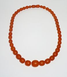Vintage Russian Baltic Amber necklace, 24 grams, about 1970-1980