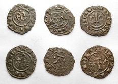 Italian Mints – Lot of 6 Swabian and Aragonese coins from the 12th Century (incl. rare typology)