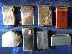 Lot of 8 old gas lighters - 1919 to 1960 - metal