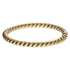 18k yellow gold twisted ring - 16.25 mm
