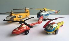 Japan / Hungary / DDR / USA - Length 20-23 cm - Lot with 4 helicopters (3 tin -1 die cast), 1960s/70s