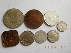 Straits settlements – 1 cent to 50 cents 1884/1920 – 8 coins including   5 silver.