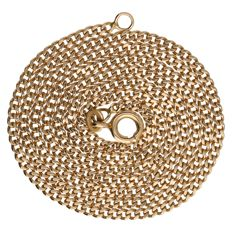 Yellow gold curb link necklace, 14 kt – 53.3 cm