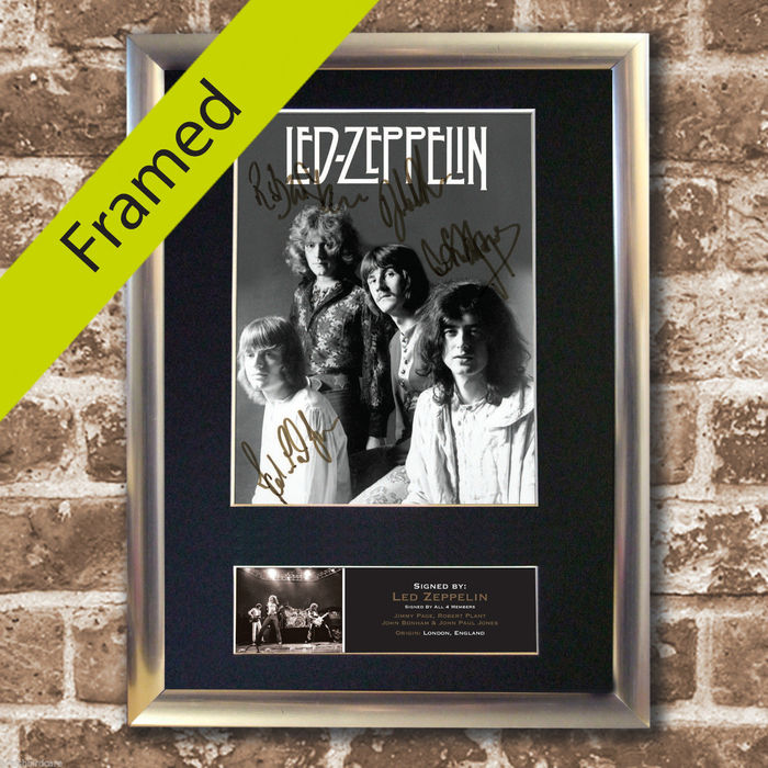 Led Zeppelin -   Signed Autograph Mounted Photo (Print ) by the members of the Band