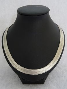 Tooled 925 silver herringbone necklace - length 45.5 cm - MILOR.