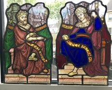 Cleopatra and Salomon in stained glass