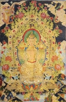 Large (60 x 90 cm) Oriental brocade tapestry of silk with gold - Buddha Vajradhara