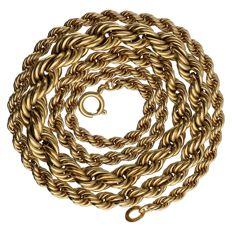 Yellow gold twisted link necklace of 14 kt – Length: 50.7 cm
