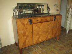 Particular Art Deco dresser with marble top, wrought iron handles, fittings and mirror top